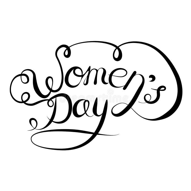 Iscrizione di vettore disegnata a mano su un fondo bianco Giorno internazionale delle donne s l'8 marzo illustrazione di stock