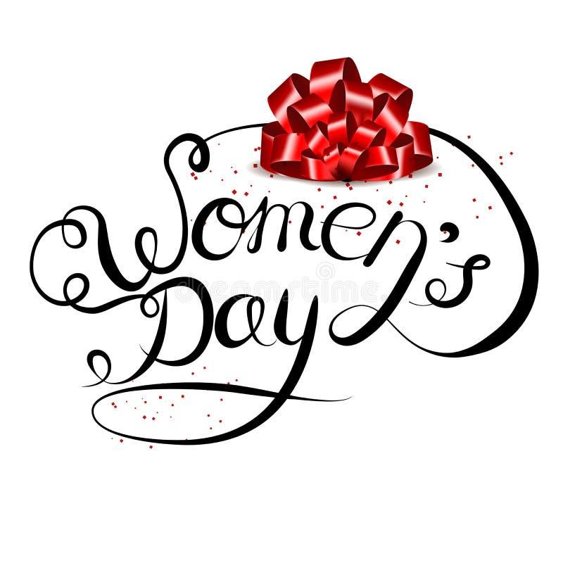 Iscrizione di vettore disegnata a mano su un fondo bianco Giorno internazionale delle donne s l'8 marzo illustrazione vettoriale