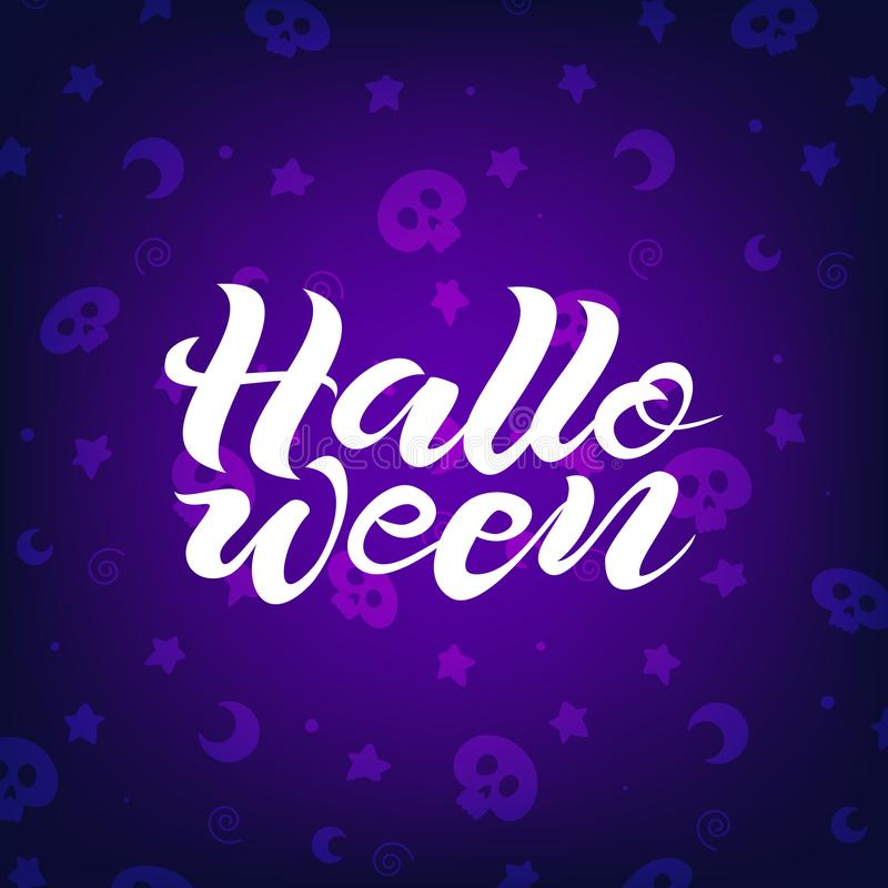 Iscrizione disegnata a mano di Halloween sul fondo scuro fotografia stock libera da diritti
