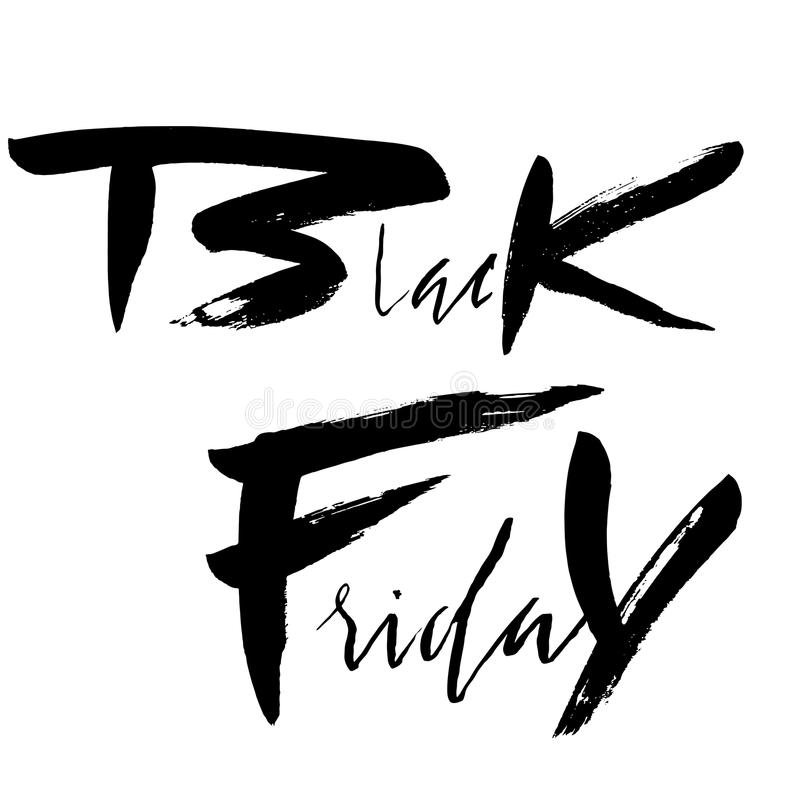 Iscrizione disegnata a mano di lerciume di vendita di Black Friday Elemento per il logo, insegne, etichette, distintivi, stampe,  illustrazione di stock