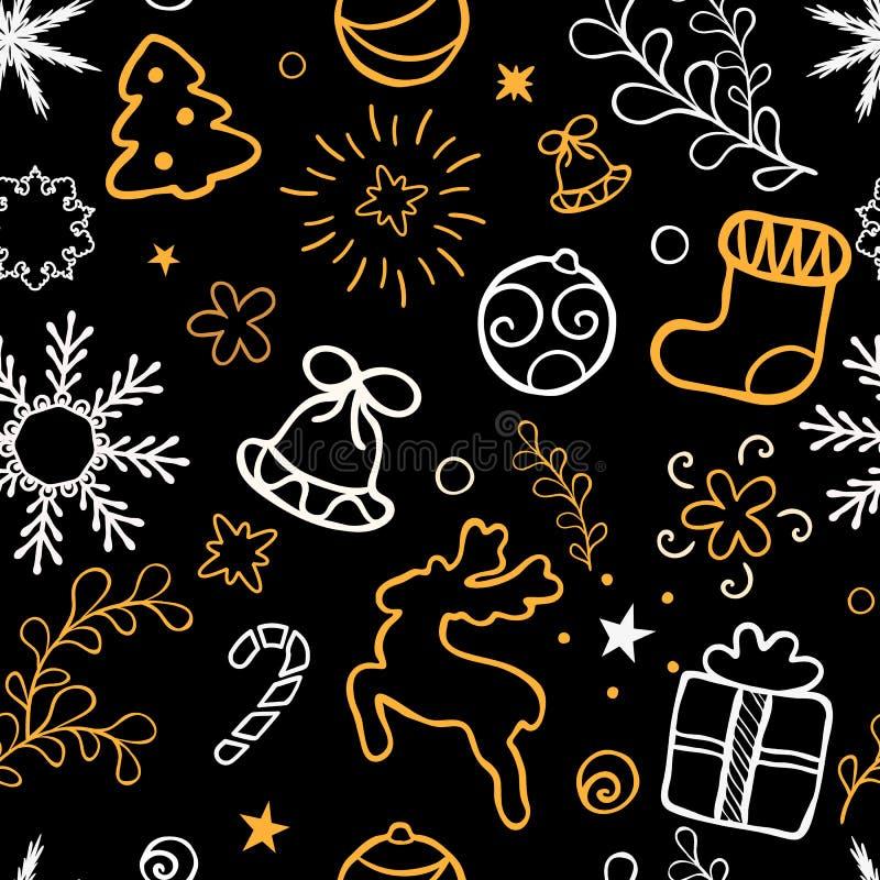 Iscrizione disegnata a mano di Natale Decorazione dell'albero di Natale, fiocchi di neve, regali struttura dorata di scintillio V royalty illustrazione gratis