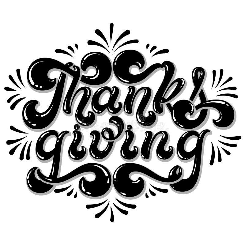 Iscrizione disegnata a mano di ringraziamento Testo allegro isolato su fondo bianco tipografia appy di giorno di ringraziamento p illustrazione vettoriale