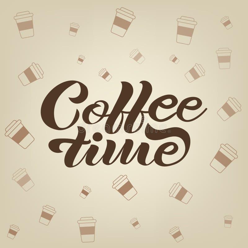Iscrizione disegnata a mano di tempo del caffè fotografia stock libera da diritti