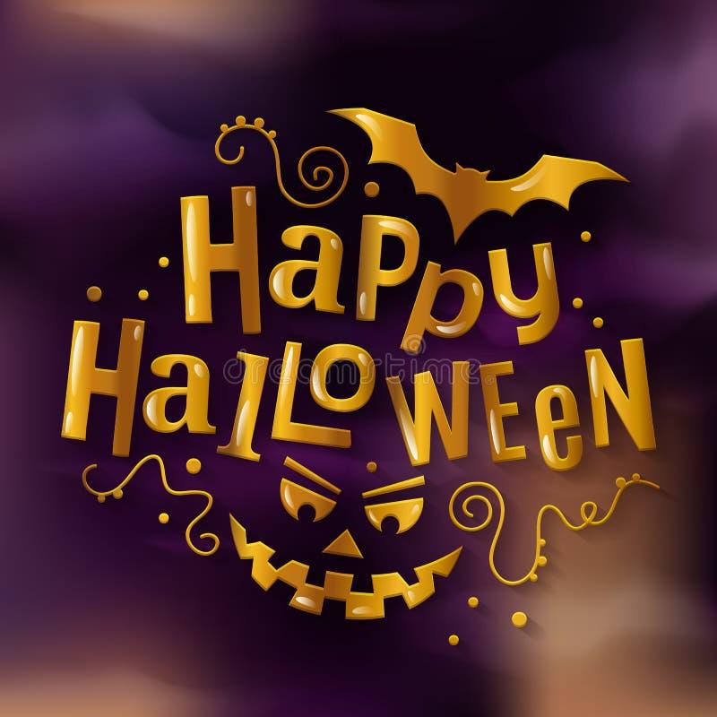 Iscrizione dorata alla moda felice di Halloween con il fronte ed il pipistrello spaventosi della zucca Illustrazione di vettore royalty illustrazione gratis