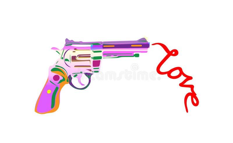 Iscrizione e pistola disegnate a mano di parola di amore Parola moderna di calligrafia di amori asciutti del fumo Progettazione d illustrazione di stock