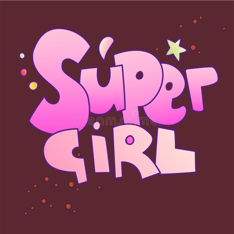 Iscrizione eccellente della ragazza con i colori di pendenza Parole di Supergirl, stile sveglio del fumetto con gli elementi deco illustrazione vettoriale