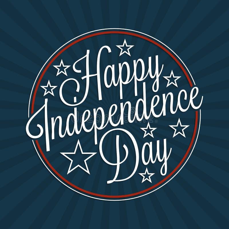 Iscrizione felice di festa dell'indipendenza illustrazione di stock