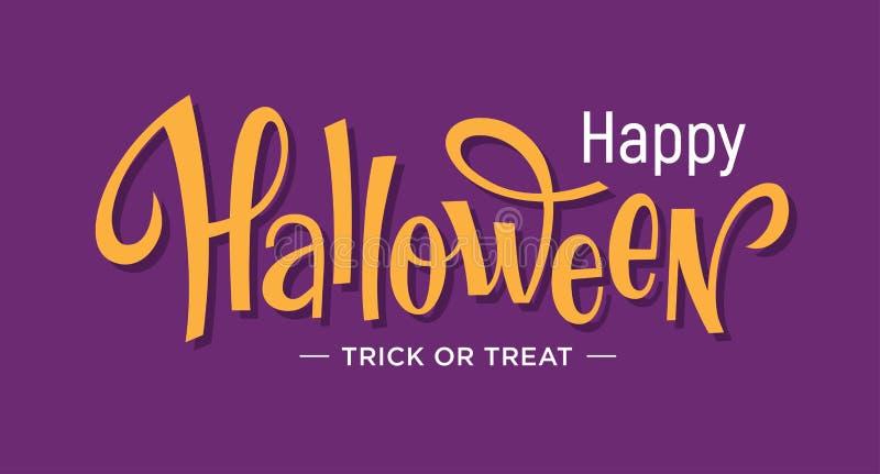 Iscrizione felice di Halloween sul fondo porpora illustrazione di stock