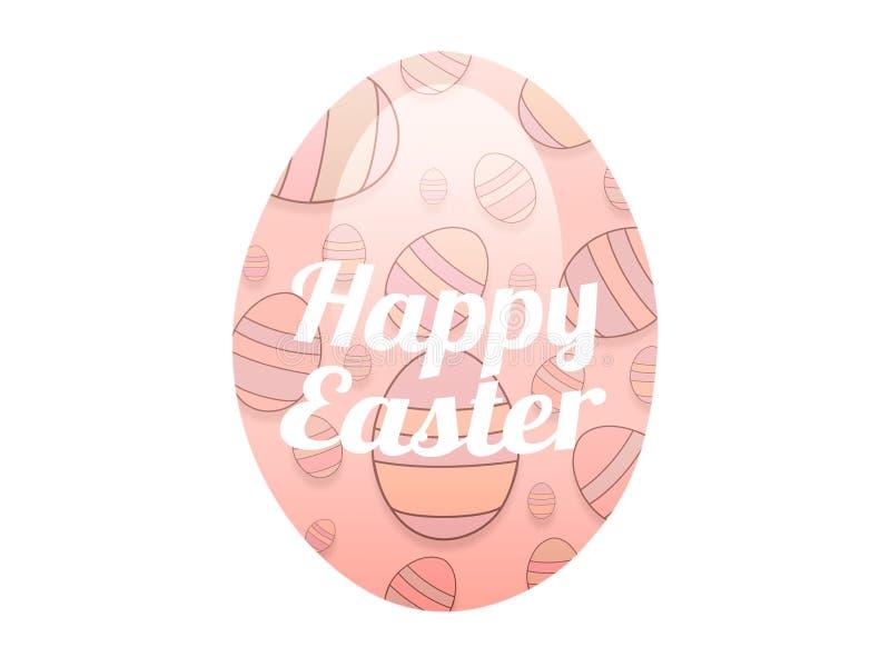 Iscrizione felice di pasqua della cartolina d'auguri sull'uovo nei colori pastelli, rosa, pesca con struttura su un fondo bianco  royalty illustrazione gratis