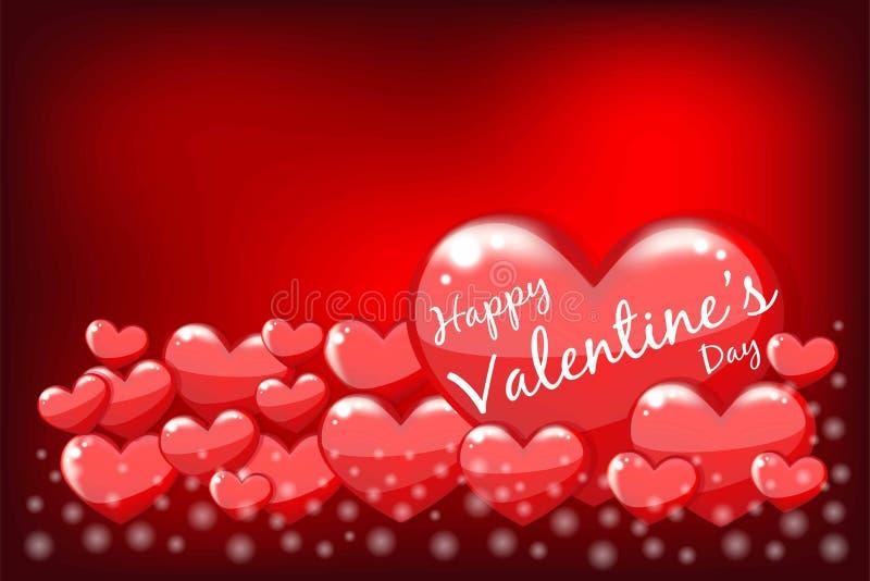 Iscrizione felice di San Valentino sul rosso di cuore tagliente con fondo rosso Illustrazione di vettore Elementi di progettazion illustrazione di stock
