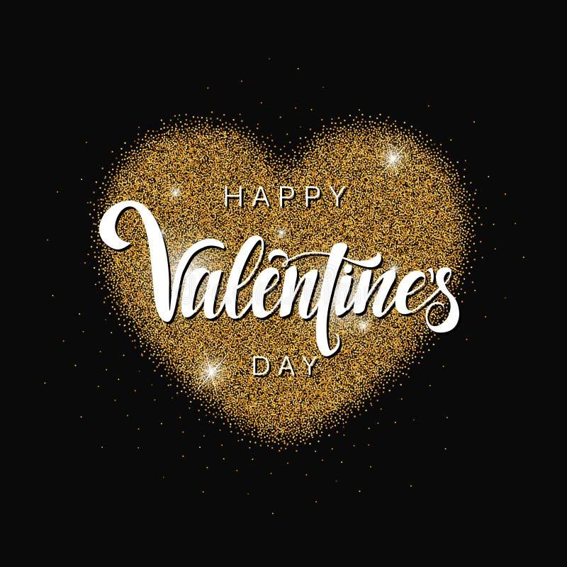 Iscrizione felice di San Valentino, iscrizione di vettore Fondo astratto decorativo con il cuore brillante di scintillio dell'oro royalty illustrazione gratis