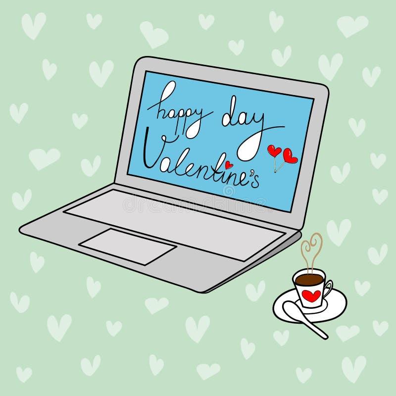 Iscrizione felice a mano libera di giorno del ` s del biglietto di S. Valentino della cartolina d'auguri di vettore di scarabocch royalty illustrazione gratis