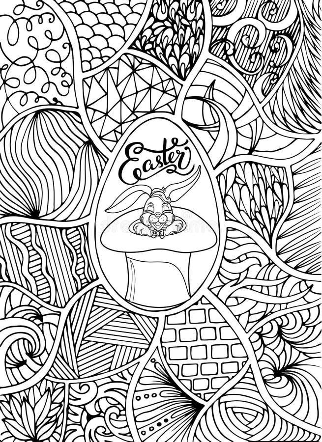 Iscrizione felice per la cartolina d'auguri, stile di Pasqua di scarabocchio Pagina di coloritura Illustrazione disegnata a mano  illustrazione di stock