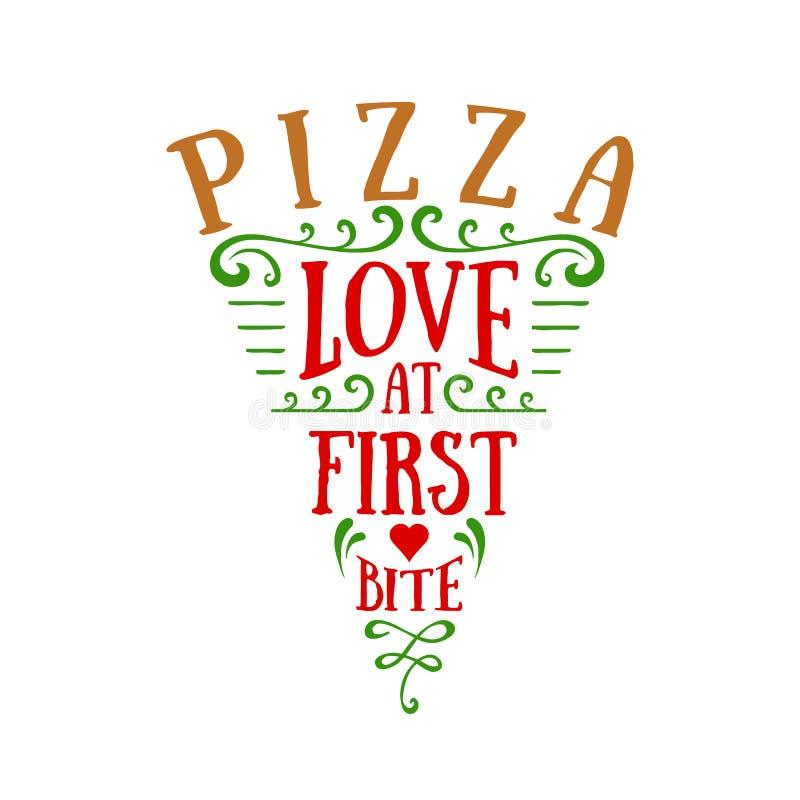 Iscrizione a forma di di vettore affettata pizza disegnata a mano royalty illustrazione gratis