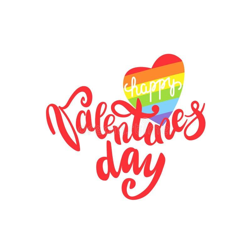 Iscrizione gay felice di giorno di biglietti di S. Valentino Manifesto concettuale con l'iscrizione della mano dell'arcobaleno di illustrazione vettoriale