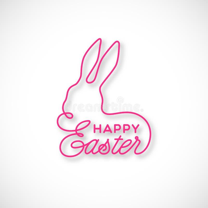 Iscrizione lineare felice di Pasqua immagini stock