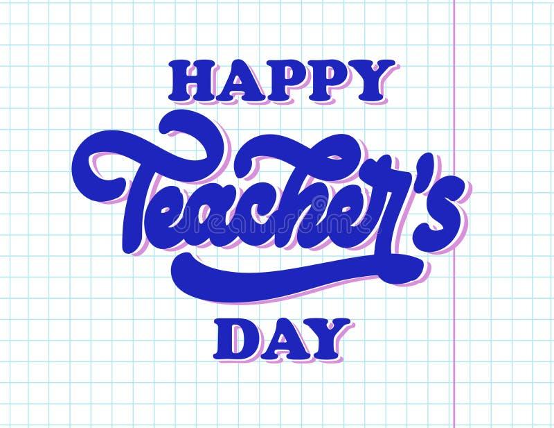 Iscrizione nazionale felice di giorno degli insegnanti Manifesto astratto creativo illustrazione di stock