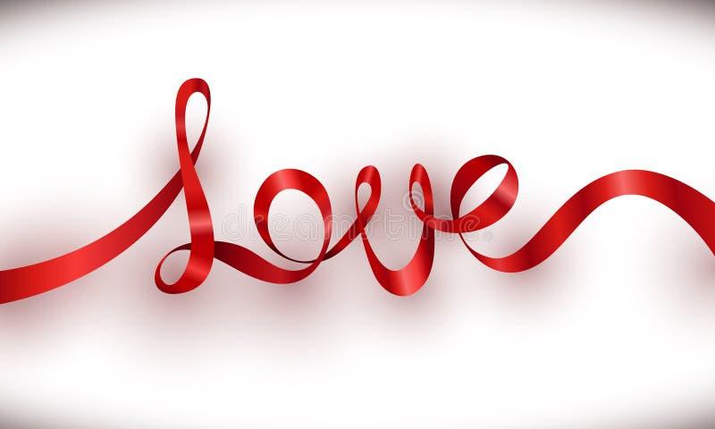 Iscrizione rossa del nastro di amore con il fondo bianco royalty illustrazione gratis