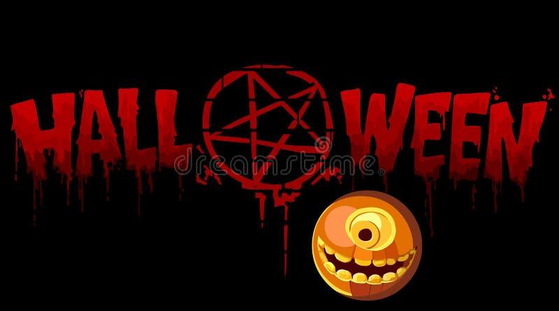 Iscrizione sanguinosa Halloween con un segno e una zucca illustrazione di stock
