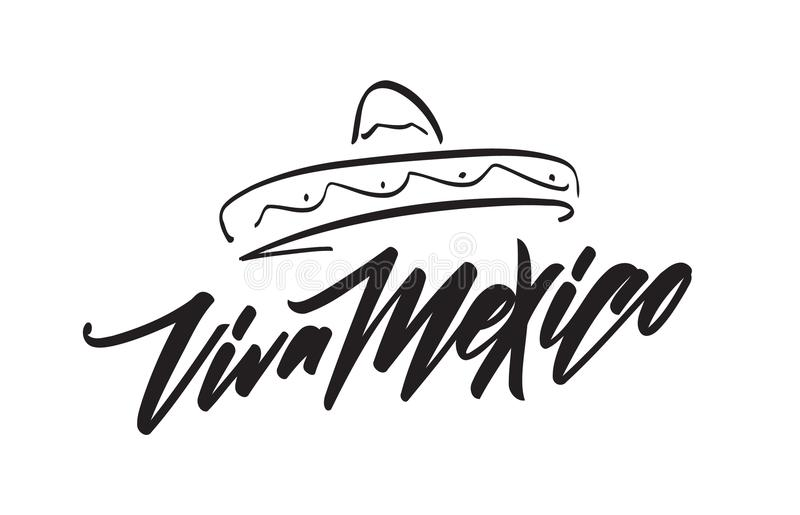 Iscrizione scritta a mano della festa messicana tradizionale di frase di Viva Mexico con il sombrero disegnato a mano illustrazione vettoriale