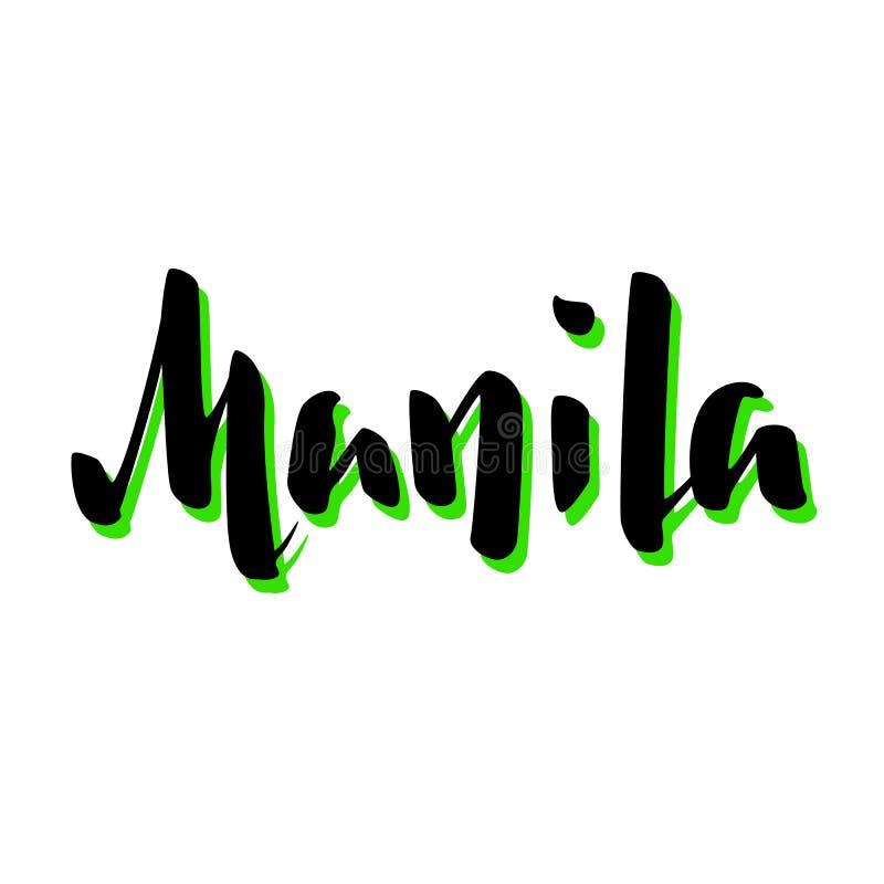 Iscrizione scritta a mano di nome della città di Manila Segno calligrafico di vettore della capitale di Filippine su fondo bianco illustrazione vettoriale