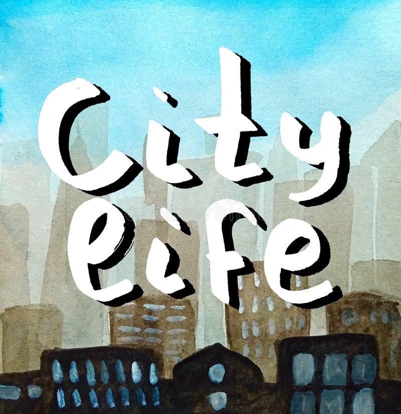 Iscrizione scritta a mano nel bianco con ombra scura Vita di città Siluetta astratta del contesto di grande città in una foschia fotografia stock libera da diritti