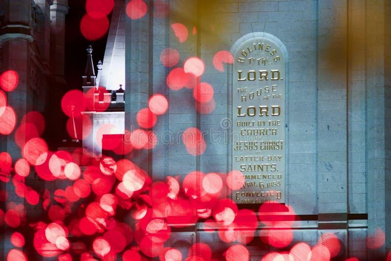Iscrizione sul tempio mormonico di LDS a tempo di Natale a Salt Lake City fotografia stock