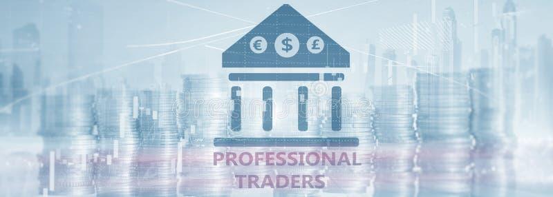 Iscrizione sullo schermo virtuale: Commercianti professionisti Fondo astratto di finanza illustrazione vettoriale