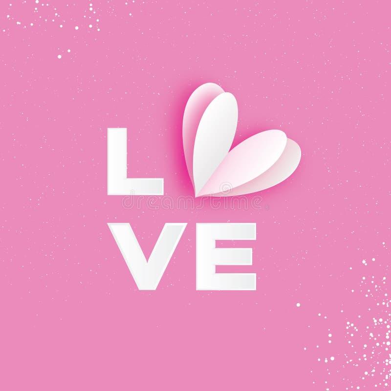 Iscrizione tipografica di AMORE con il cuore del taglio del Libro Bianco Cartolina d'auguri felice di giorno del ` s del bigliett illustrazione di stock