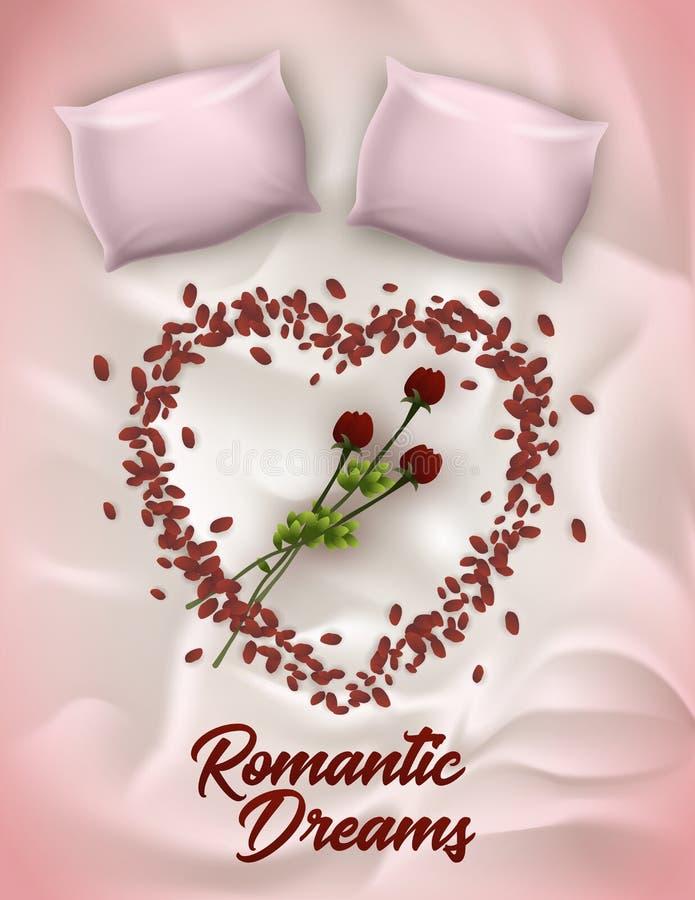 Iscrizione verticale dell'insegna, scritta i sogni romantici illustrazione vettoriale