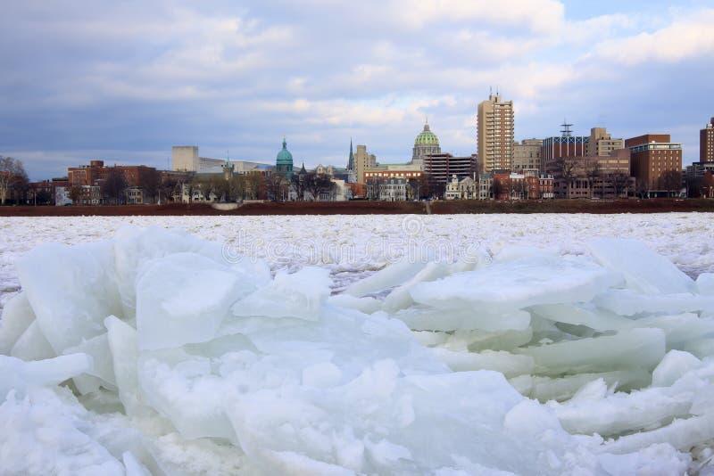 Isdriftstopp på floden royaltyfri foto