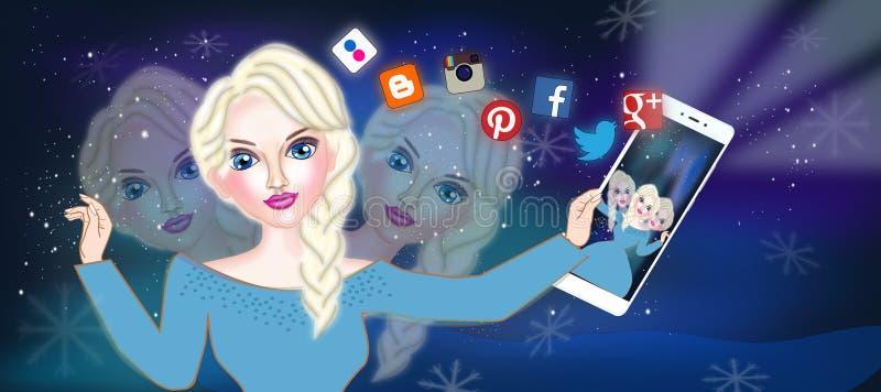Isdrottning på selfietid stock illustrationer