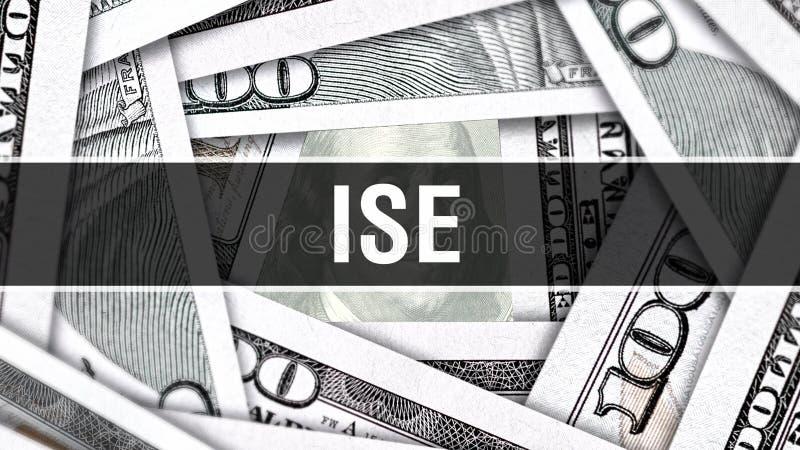 ISE Closeup Concept Amerikanische Dollar des Bargeld-, Wiedergabe 3D ISE an der Dollar-Banknote Finanz-USA-Geldbanknote Werbung M lizenzfreie abbildung