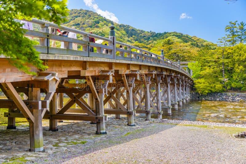 Ise, Japon au pont d'Uji image stock