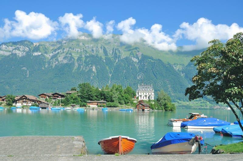 Iseltwald, lago Brienz, Suiza imagen de archivo