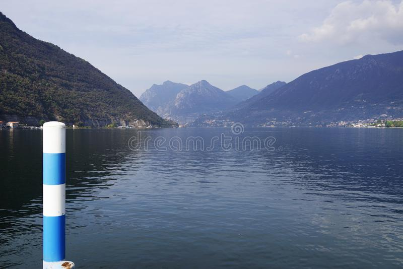 Iseo Lake in autumn, seen from Sulzano. royalty free stock images