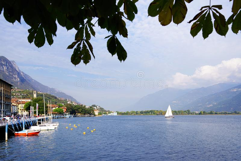ISEO LAKE, ITALY, 20 OCTOBER, 2018: Yachting on Iseo Lake, near to Lovere town. Lago d`Iseo or Sebino is the fourth largest lake in Lombardy, Italy, fed by the royalty free stock image