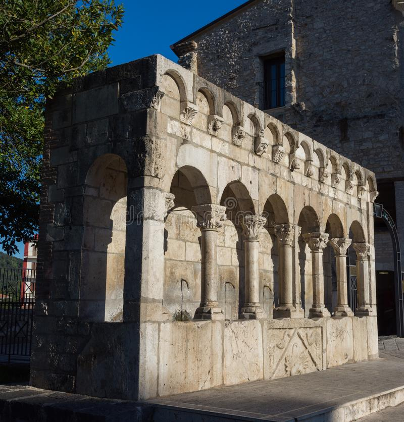 Isernia, Molise. The `Fontana Fraterna` or Fontana della Fraterna, is an elegant public source, as well as a symbol, of the city. The `Fontana Fraterna` or stock photography