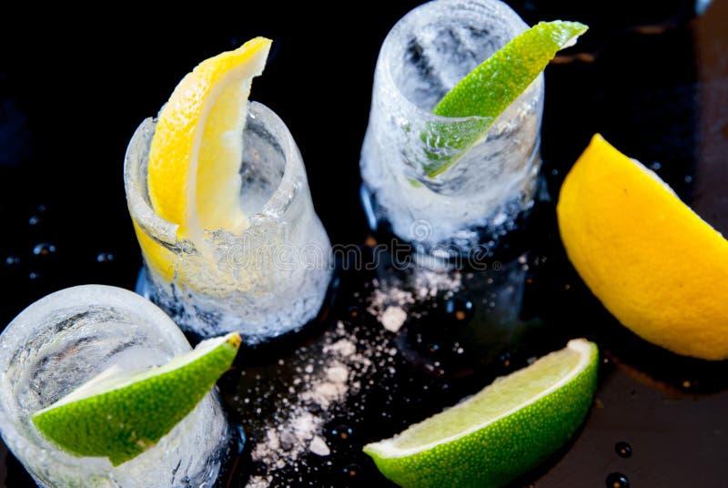 Isexponeringsglas med citron- och limefruktskivor och salt tequilaavsmakning festar begrepp royaltyfri fotografi