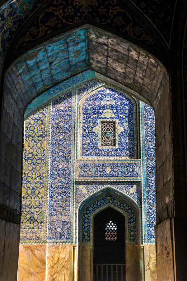 Isfahan in Iran. Interior of Shah Mosque also called Imam mosque in Isfahan city, Iran royalty free stock image
