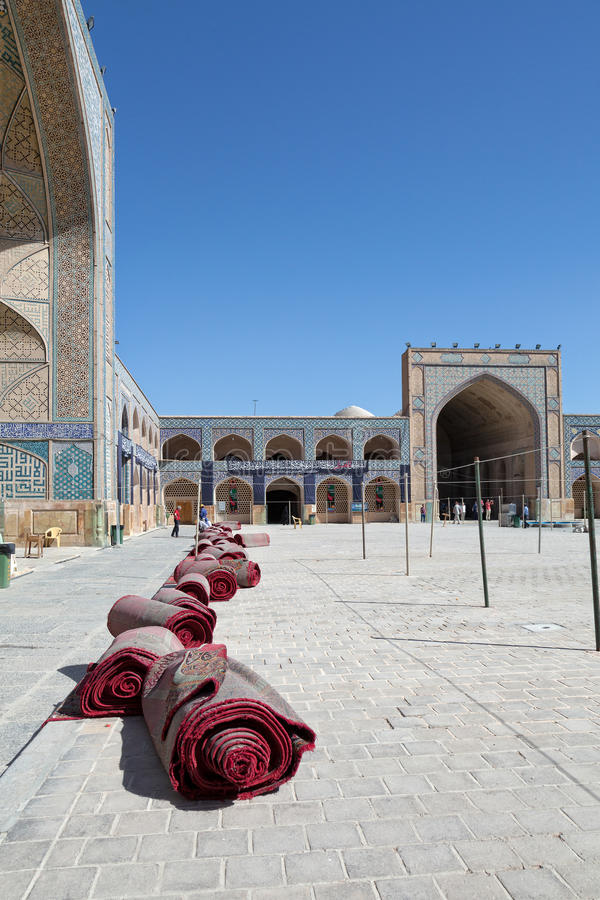 Courtyard of Jameh Mosque, Isfahan, Iran royalty free stock photo