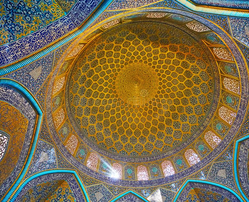 Ornaments in Sheikh Lotfollah Mosque interior, Isfahan, Iran royalty free stock photography