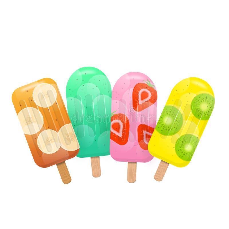 Isglassar för ny frukt Mintkaramell-, banan-, jordgubbe- och kiwiisglassar royaltyfri illustrationer