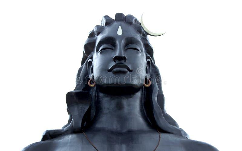 Isha Foundation Adiyogi Shiva staty Isolerat med vit bakgrund royaltyfri bild