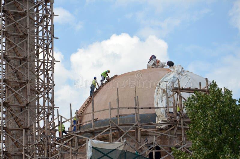 Ishak Çelebi Mosque, Bitola, Macedonia. Picture of a restauration of a Ishak Çelebi Mosque Bitola, Macedonia stock photos