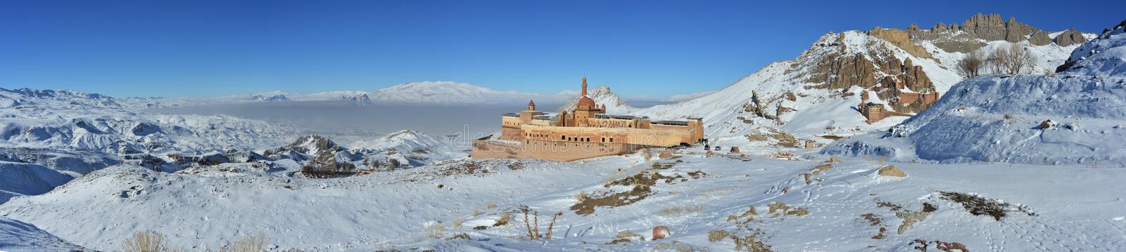 Ishak Pasha Palace - Turkey. Ishak Pasha Palace, the unique palace structure of Ottoman Empire that can reach this day in Anatolia. The palace is situated in stock images