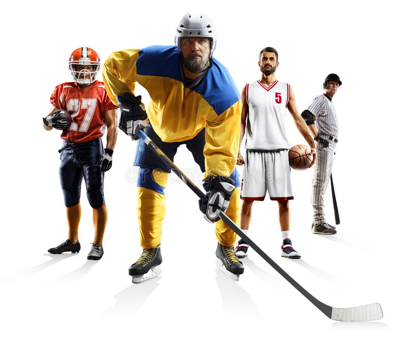 Ishockey etc. för baseball för basket för amerikansk fotboll för sportcollage arkivfoton