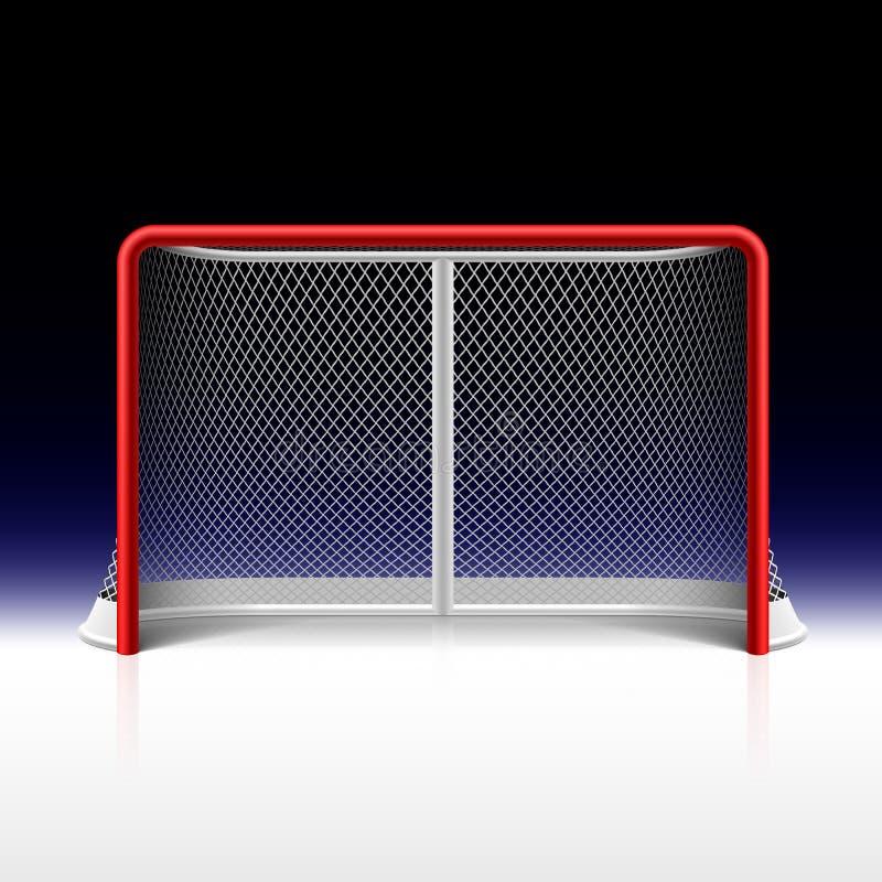 Ishockey förtjänar, målet på svart royaltyfri illustrationer