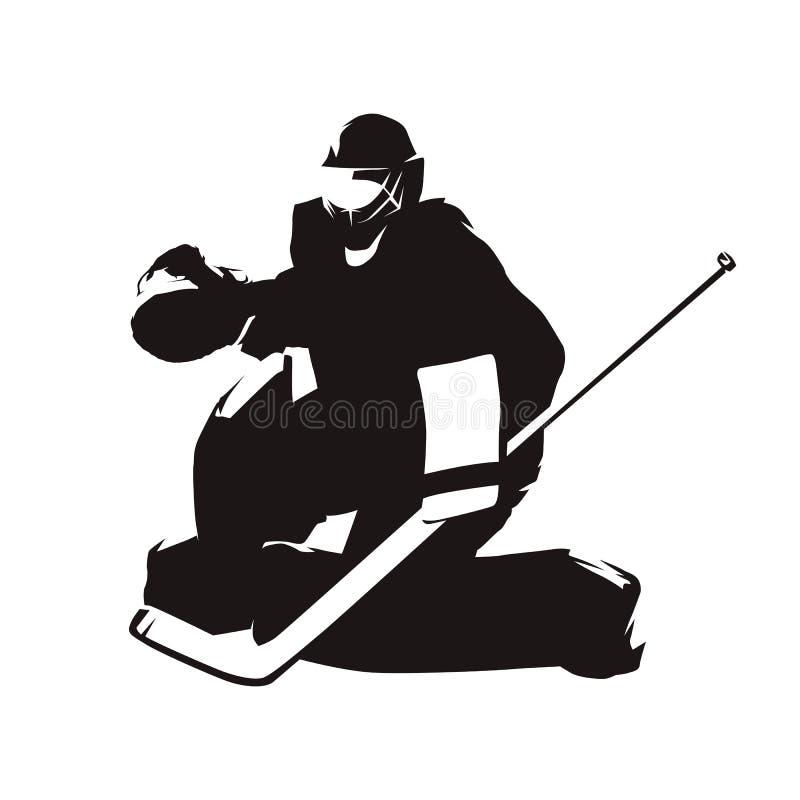 Ishockeygoalie, abstrakt kontur royaltyfri illustrationer