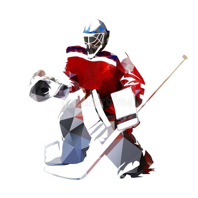 Ishockeygoalie, polygonal vektorillustration royaltyfri illustrationer